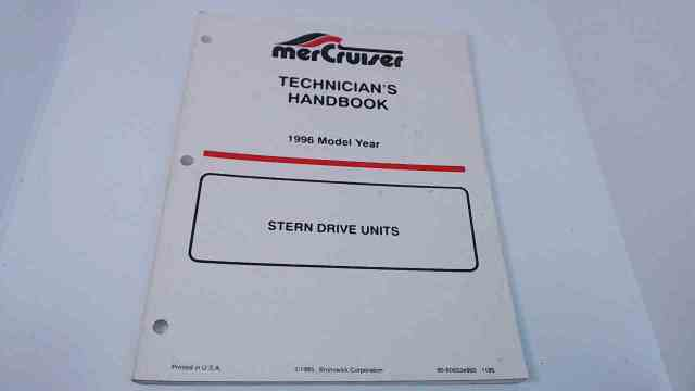 90-806534960 MerCruiser Technician's Handbook Model Year 1996 Stern Drive Units