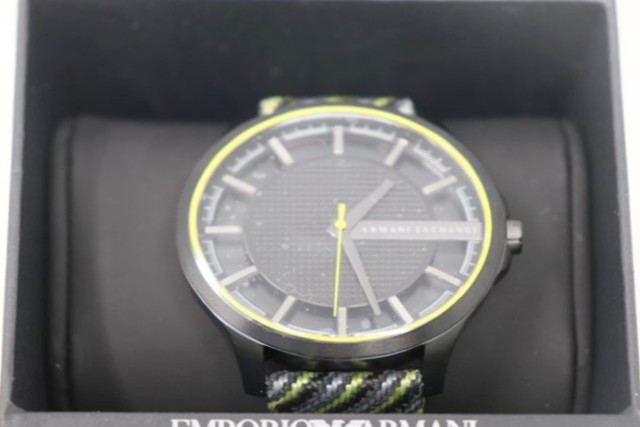 ARMANI EXCHANGE AX2402 TRANSPARENT DIAL MENS WATCH W/WOVEN STRAP
