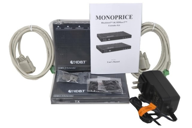 MONOPRICE 121792 BLACKBIRD 4K HDBASE-T EXTENDER KIT, 2-WAY POH