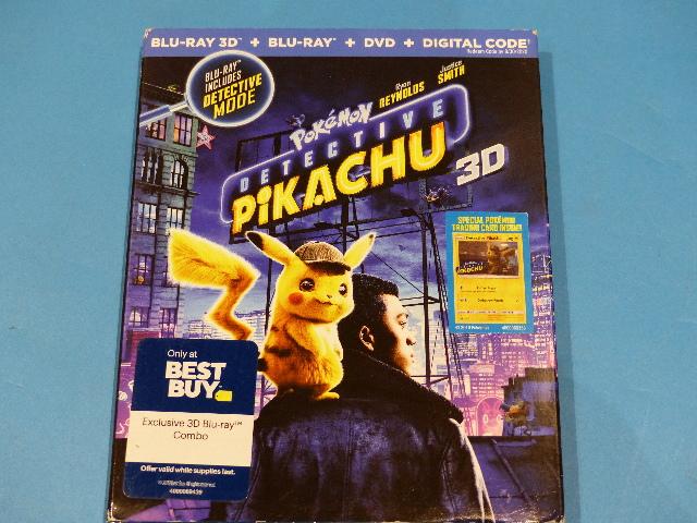 POKEMON DETECTIVE PIKACHU - BLU-RAY 3D + BLU-RAY + DVD  NEW