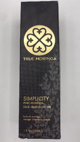 TRUE MORNINGA SIMPLICITY FACE HAIR AND BODY OIL 1 FL. OZ. 30ML.