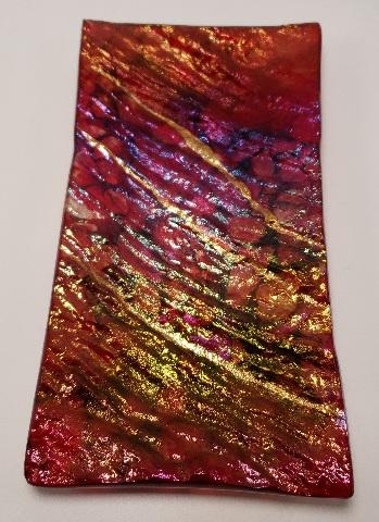 MARIAN FIELDSON VOLCANIC LAVA ART GLASS PLATTER TRAY BIG ISLAND PURPLE GOLD NEW