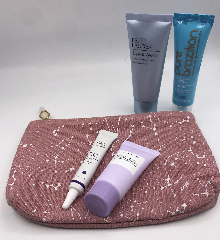 IPSY GLAM BAG AND 4 PC ASSORTED FACE MASQUE AND CLEANSER
