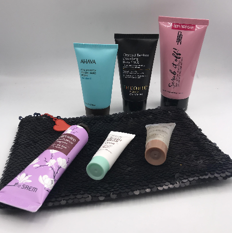 IPSY GLAM BAG AND 6 PC ASSORTED BODY SCRUBS AND LOTIONS