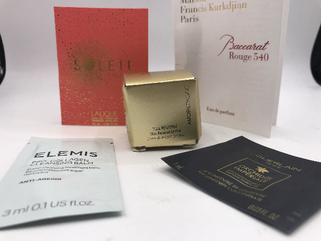 LOT OF 5 TRIAL GUERLAIN ORCHIDEE BACCARAT ELEMIS SOLEIL LALIQUE AMOREPACIFIC
