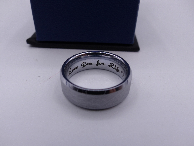 TUNGSTEN CARBIDE WEDDING BAND RING BRUSHED SILVER MENS LOVE YOU FOR LIFE INTER.