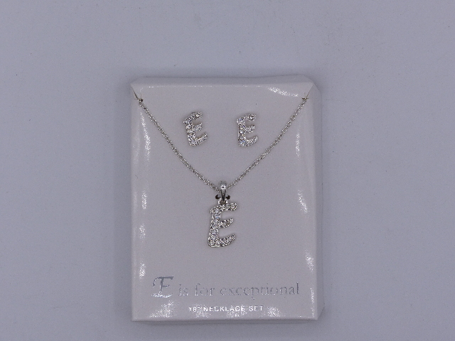 E IS FOR EXCEPTIONAL NECKLACE & EARRINGS SET 18'' SPARKELY 'E' PENDANT MATCHING