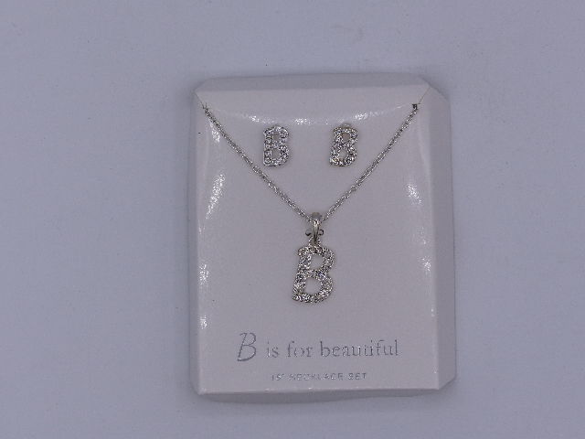 B IS FOR BEAUTIFUL NECKLACE  EARRINGS SET 18'' SPARKELY 'B' PENDANT MATCHING SIL