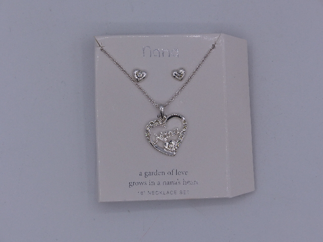 "NANA NECKLACE AND EARRINGS SET 18"" A GARDEN OF LOVE GROWS IN A NANAS HEART SILVE"
