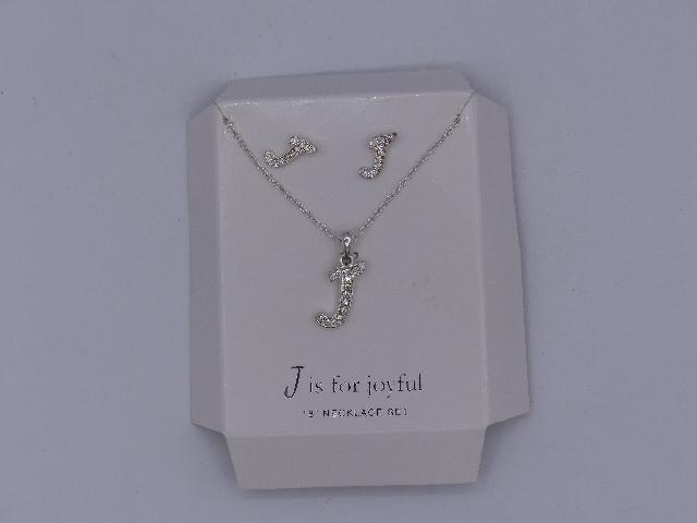 J IS FOR JOYFUL NECKLACE EARRINGS SET 18'' SPARKELY 'J' PENDANT MATCHING EARRING