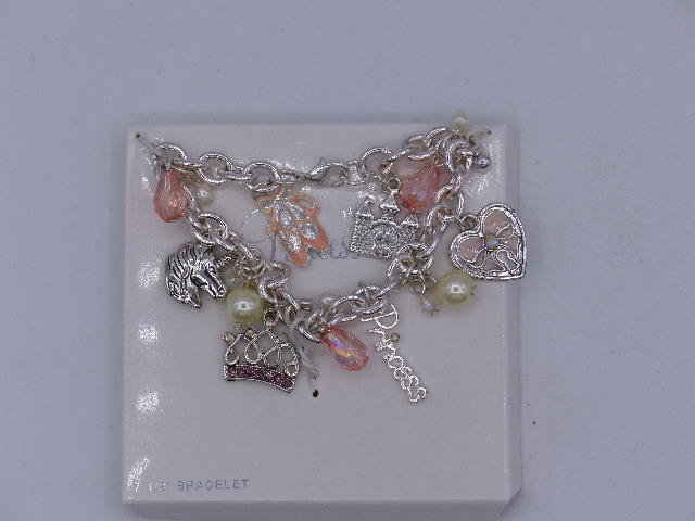 ADORABLE PINK PEARL CHAIN PRINCESS CHARM BRACELET INCLUDES DIFFERENT CHARMS SILV