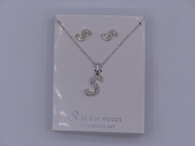 S IS FOR SWEET NECKLACE SET AND EARRINGS SET 18'' SPARKELY 'S' PENDANT MATCHING