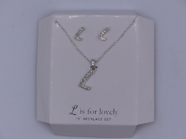 L IS FOR LOVELY NECKLACE EARRINGS SET 18'' SPARKELY 'L' PENDANT MATCHING  SILVER