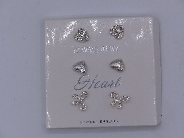 SET OF THREE SILVER HEART EARRINGS HYPO-ALLERGENIC ALWAYS IN MY HEART AND BOW