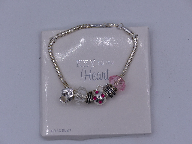 LOCK AND KEY TO MY HEART BRACELET SILVER AND PINK DETAILS CHARM BRACELET