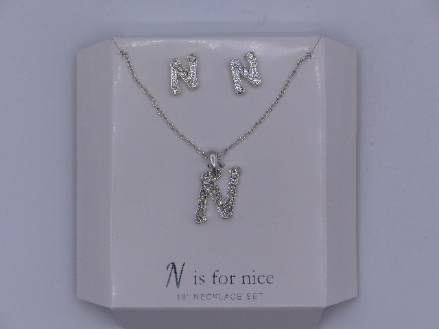 N IS FOR NICE NECKLACE SET AND EARRINGS SET 18'' SPARKELY 'N' PENDANT MATCHING S