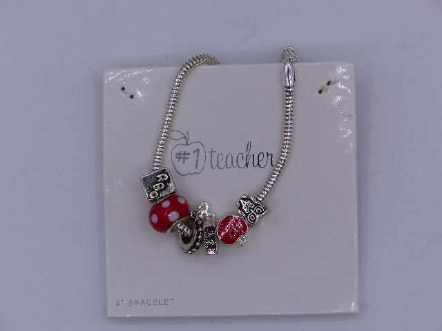 #1 TEACHER APPRECIATION DAY PENDANT CHARM BRACELET INCLUDES OWL APPLE RULER ABC
