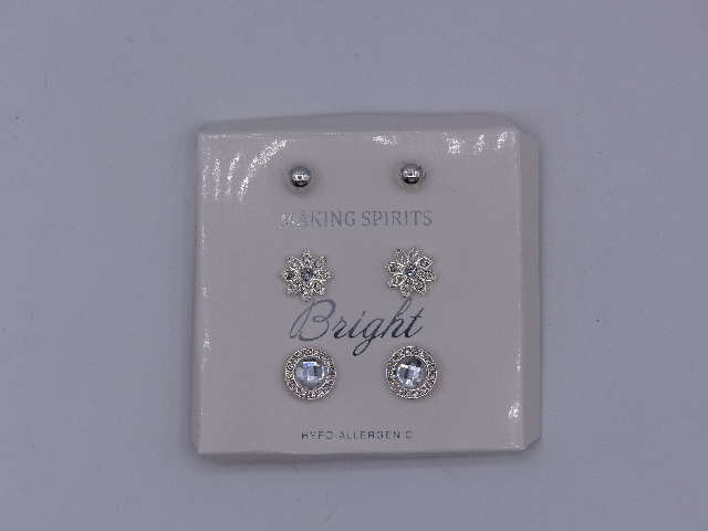 SET OF 3 MAKING SPIRITS BRIGHT EARRINGS WINTER HYPO-ALLERGENIC EARRINGS SILVER T