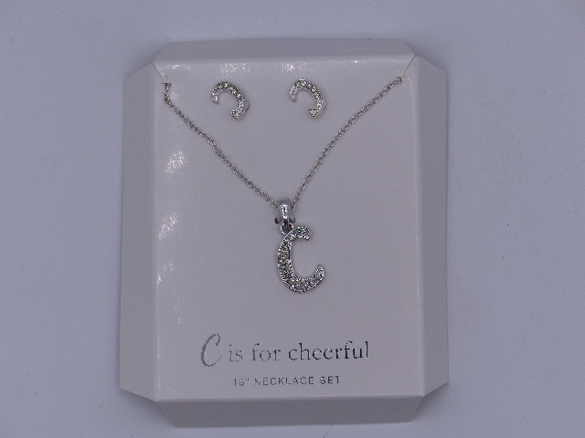 C IS FOR CHEERFUL NECKLACE SET AND EARRINGS SET 18'' SPARKELY 'C' PENDANT MATCHI