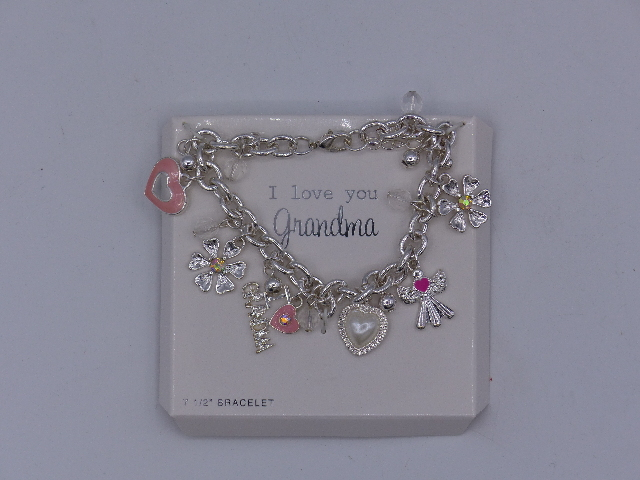 BEAUTIFUL GRANDMA CHARM SILVER CHAIN BRACELET W/ I LOVE GRANDMA ANGEL HEARTS FLO