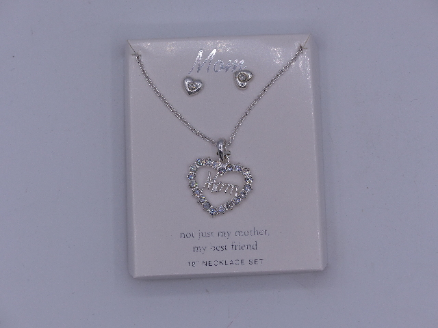 "MOM  BEAUTIFUL SPARKELY NECKLACE EARRINGS 18"" NOT JUST MY MOTHER MY BEST FRIEND"