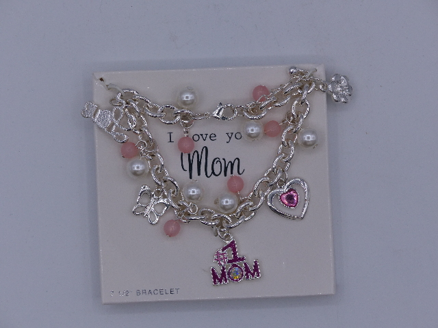 BEAUTIFUL MOM CHARM BRACELET PINK SILVER CHAIN #1 MOM