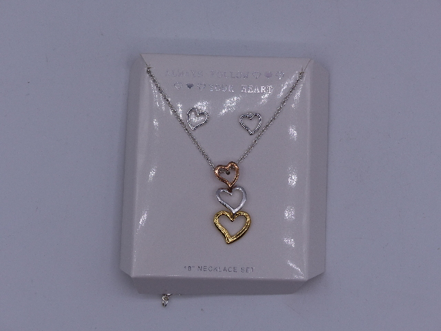 ALWAYS FOLLOW YOUR HEART NECKLACE GLUED 3 HEARTS BRONZE GOLD AND SILVER TOGETHER