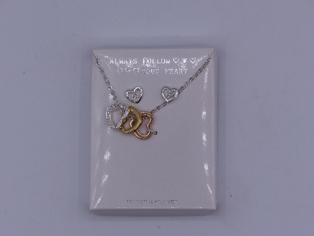 ALWAYS FOLLOW YOUR HEART NECKLACE DANGLING 3 HEARTS LOOPED ONTO NECKLACE W/ EARR