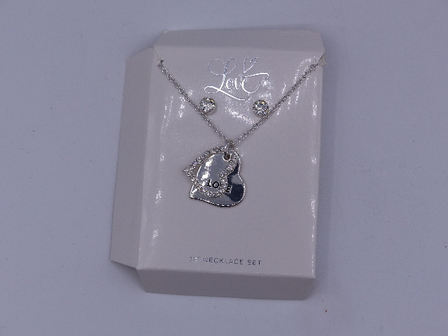 DOUBLE HEART SILVER LOVE NECKLACES ONE PENDENT ONE RHINESTONES W/ MATCHING STUDS