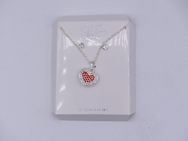 RED RHINESTONE HEART PENDENT NECKLACES WITH MATCHING STUDS SET 18""