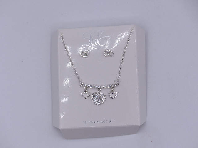 TRIPLE HEART SILVER RHINESTONE LOVE NECKLACES W/ MATCHING HEART EARRINGS SET