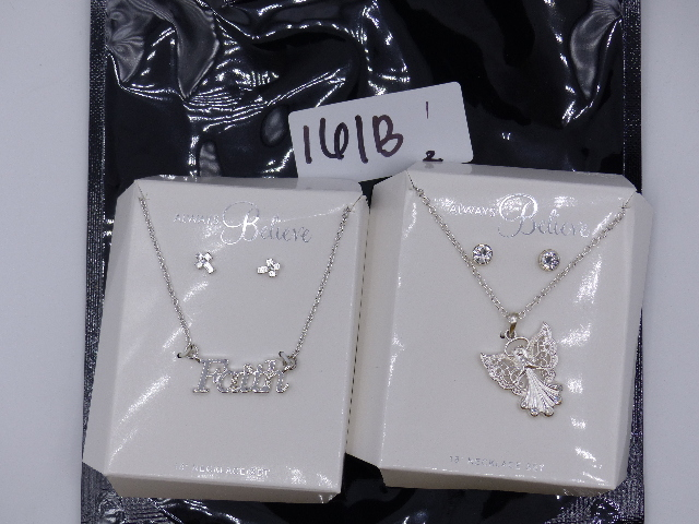LOT OF TWO FAITH NECKLACE SET AND ANGEL NECKLACE W/ MATCHING BEDAZZELED CROSS ST