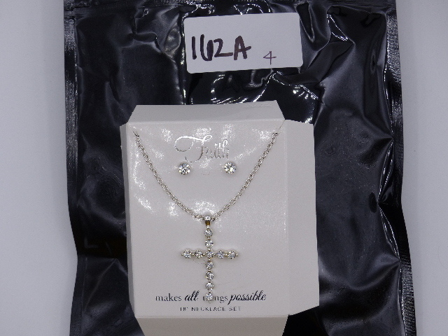FAITH BEDAZZELED SILVER CROSS NECKLACE SET W/ MATCHING SILVER STUDS 18""