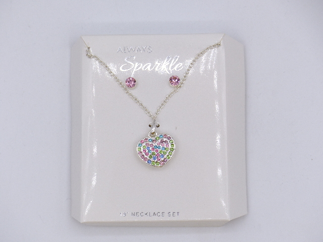 "BEDAZZELED 18"" MULTI COLORED PINK GREEN BLUE HEART PENDANT NECKLACE MATCHING STU"