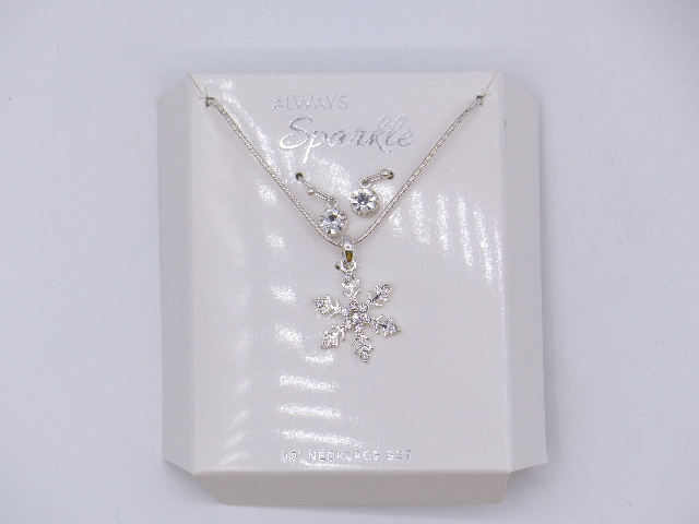 WINTER SPARKLE SNOWFLAKE SIMPLE SILVER NECKLACE W/ DANGLE SILVER EARRINGS SET 18