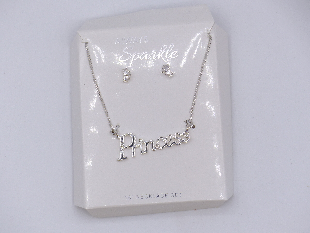 """SILVER """"PRINCESS"""" SPARKELY NECKLACE W/ MATCHING SILVER CROWN EARRINGS SET 18"""""""