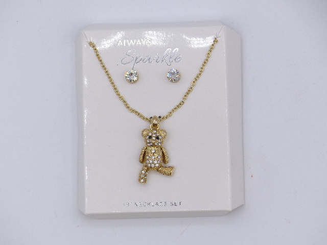 """TEDDY BEAR BEDAZZELED GOLD NECKLACE SET W/ SILVER STUDS 18"""""""