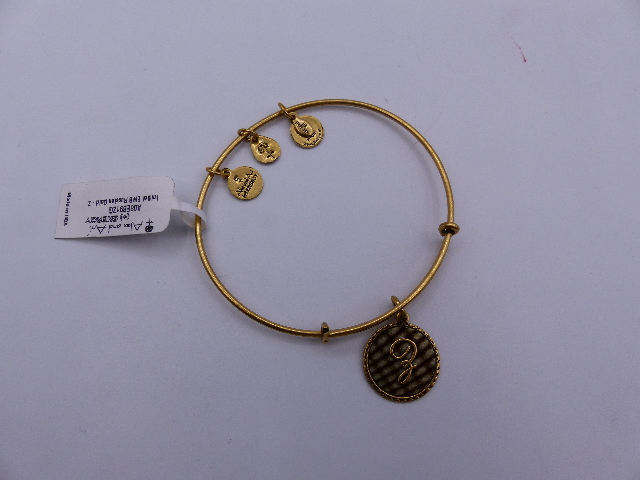 ALEX AND ANI INITIAL BANGLE RUSSIAN GOLD CURSIVE LETTER Z GOLD FINISH W/OUT BOX