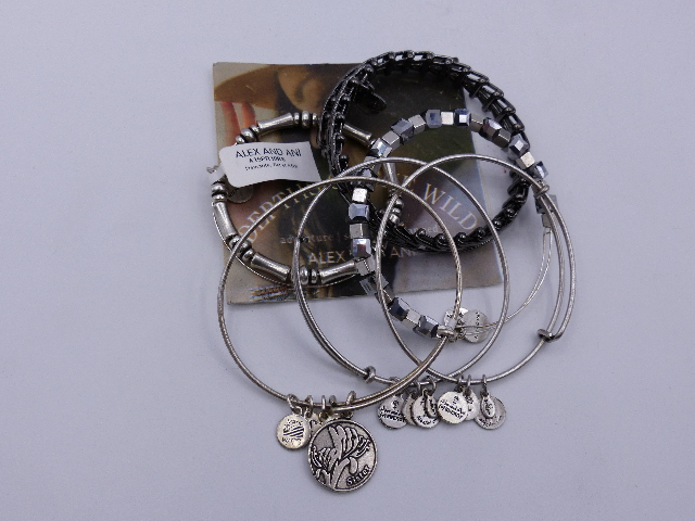 ALEX AND ANI SISTER BRACELET SET OF 6 SILVER BEADED VINTAGE HEMATITE WITH CARD