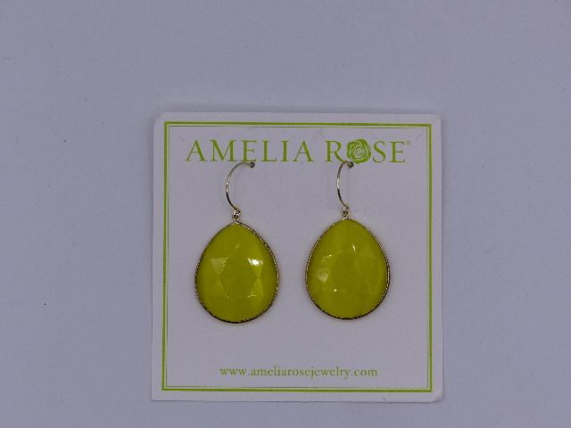 AMELIA ROSE EARRINGS  LIME GREEN DEW DROP LARGE SIMPLE SMALL SPARKLE