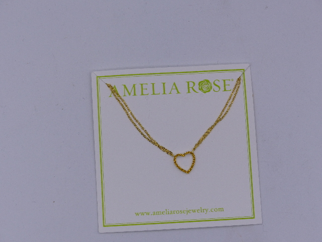 AMELIA ROSE NECKLACE GOLD CHAIN & GOLD HEART SIMPLE SMALL SPARKLE