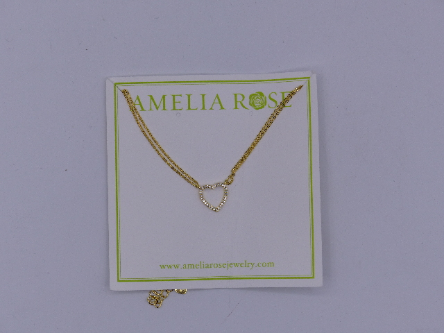 AMELIA ROSE NECKLACE GOLD CHAIN & SILVER HEART SIMPLE SMALL SPARKLE