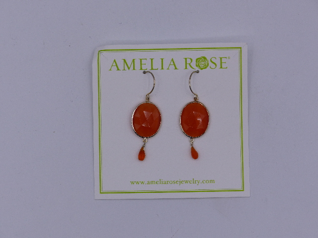 AMELIA ROSE EARRINGS DEW DROP SMALL DEEP RED DANGLE