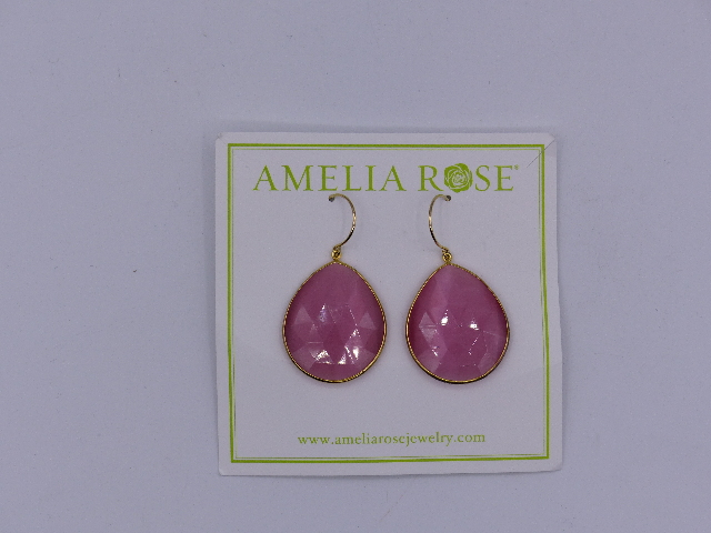 AMELIA ROSE EARRINGS PINK DEW DROP LARGE GOLD LINED
