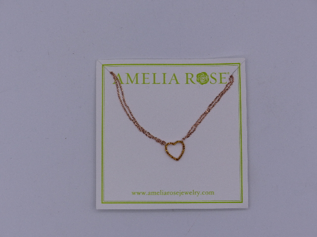 AMELIA ROSE NECKLACE COPPER CHAIN & GOLD HEART SIMPLE SMALL SPARKLE