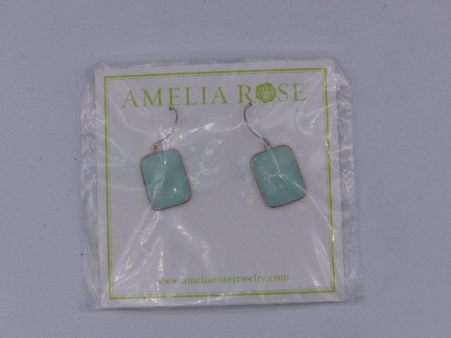 AMELIA ROSE EARRINGS DEW DROP SMALL TURQUOISE SQUARE SILVER OUTLINE