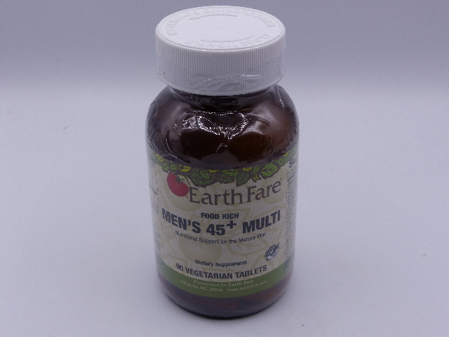 EARTH FARE MEN'S 45+ DIETARY SUPPLEMENT 90 VEGETARIAN TABLETS