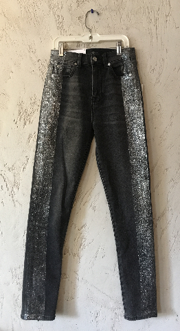 7 FOR ALL MANKIND HIGH WAIST ANKLE SKINNY JEANS SIZE 26 BLACK WITH GLITTER