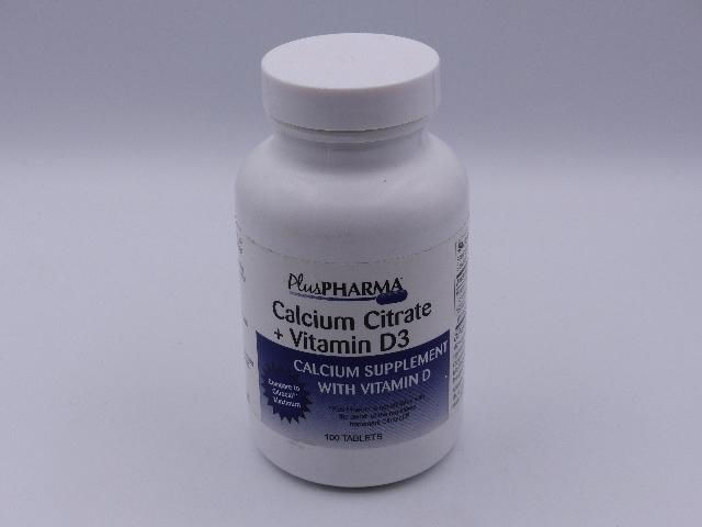 PLUSPHARMA CALCIUM CITRATE SUPPLEMENT W/ VITAMIN D3 100 TABLETS BEST 02/2020