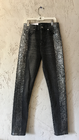 7 FOR ALL MANKIND HIGH WAIST ANKLE SKINNY JEANS SIZE 25 BLACK WITH GLITTER